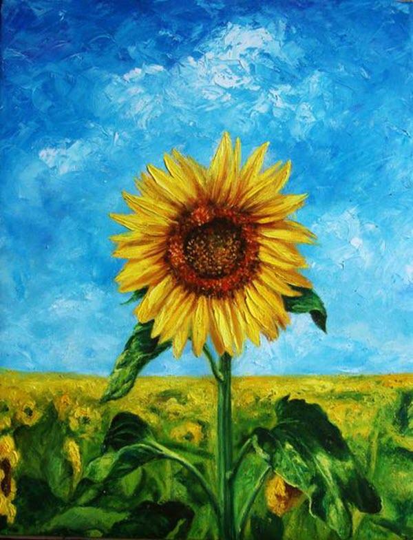 Ảnh bức tranh vẽ bông hoa Hướng Dương đẹp