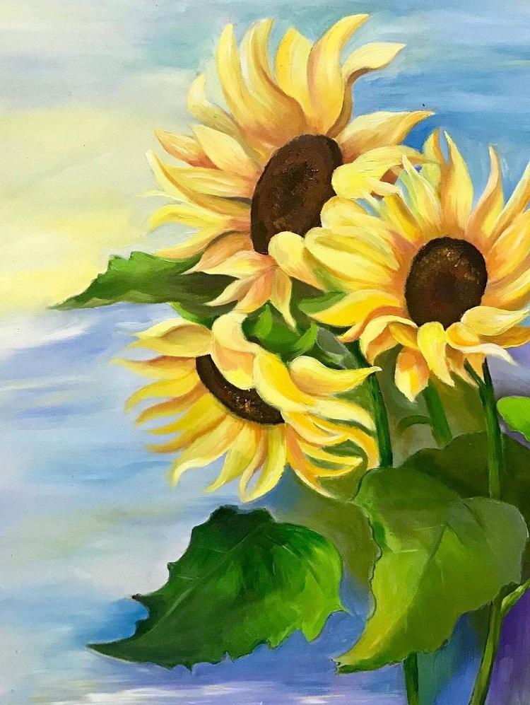 Ảnh tranh vẽ những bông hoa Hướng Dương đẹp