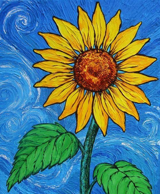Bức tranh vẽ bông hoa Hướng Dương đẹp