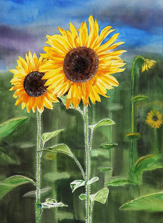 Bức tranh vẽ hoa Hướng Dương cực đẹp