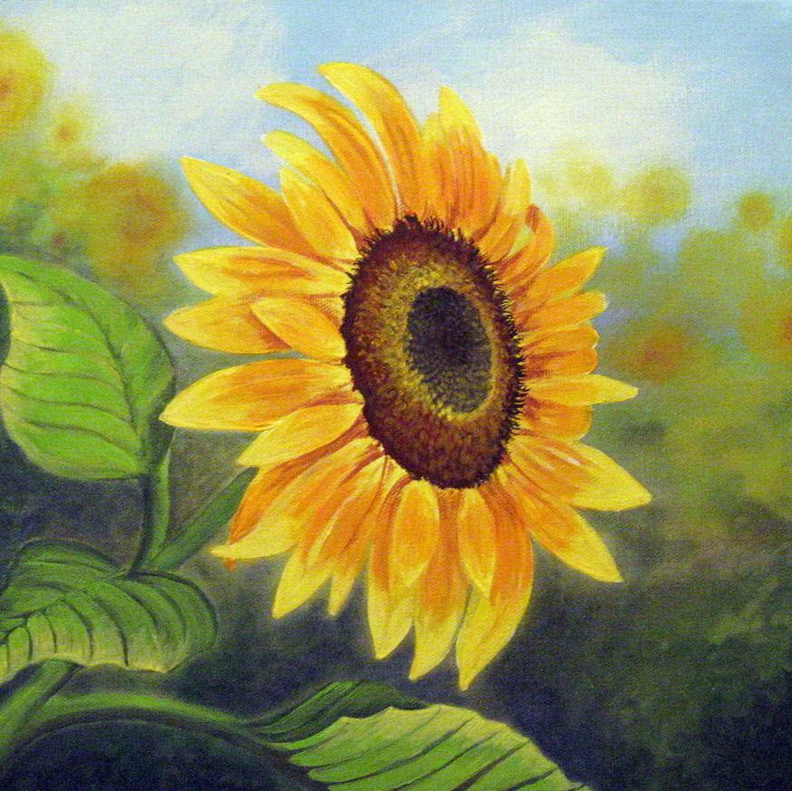 Bức tranh vẽ hoa Hướng Dương rực rỡ đẹp