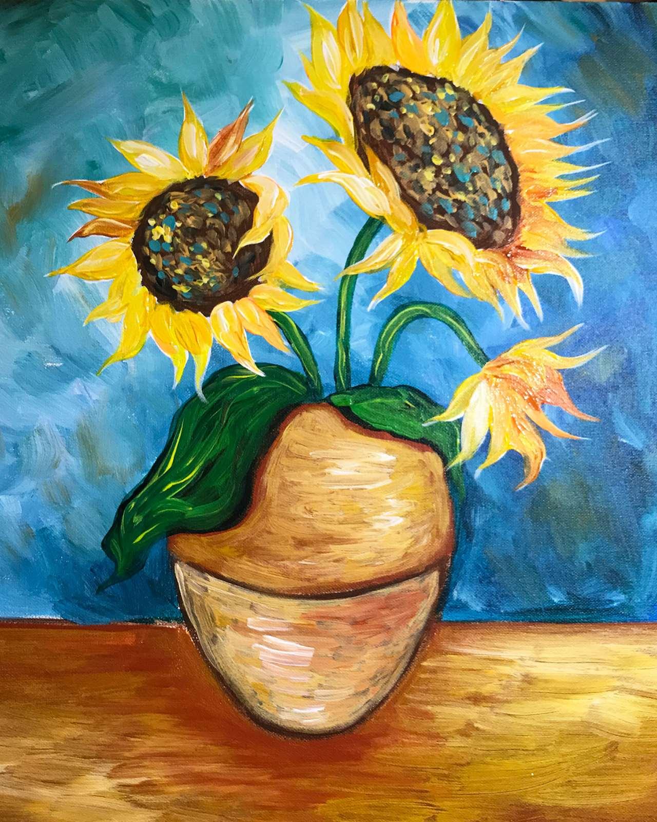 Bức tranh vẽ lọ hoa Hướng Dương đẹp nhất