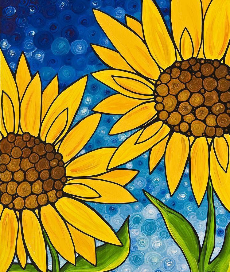 Hình ảnh bức tranh vẽ hoa Hướng Dương đơn giản đẹp