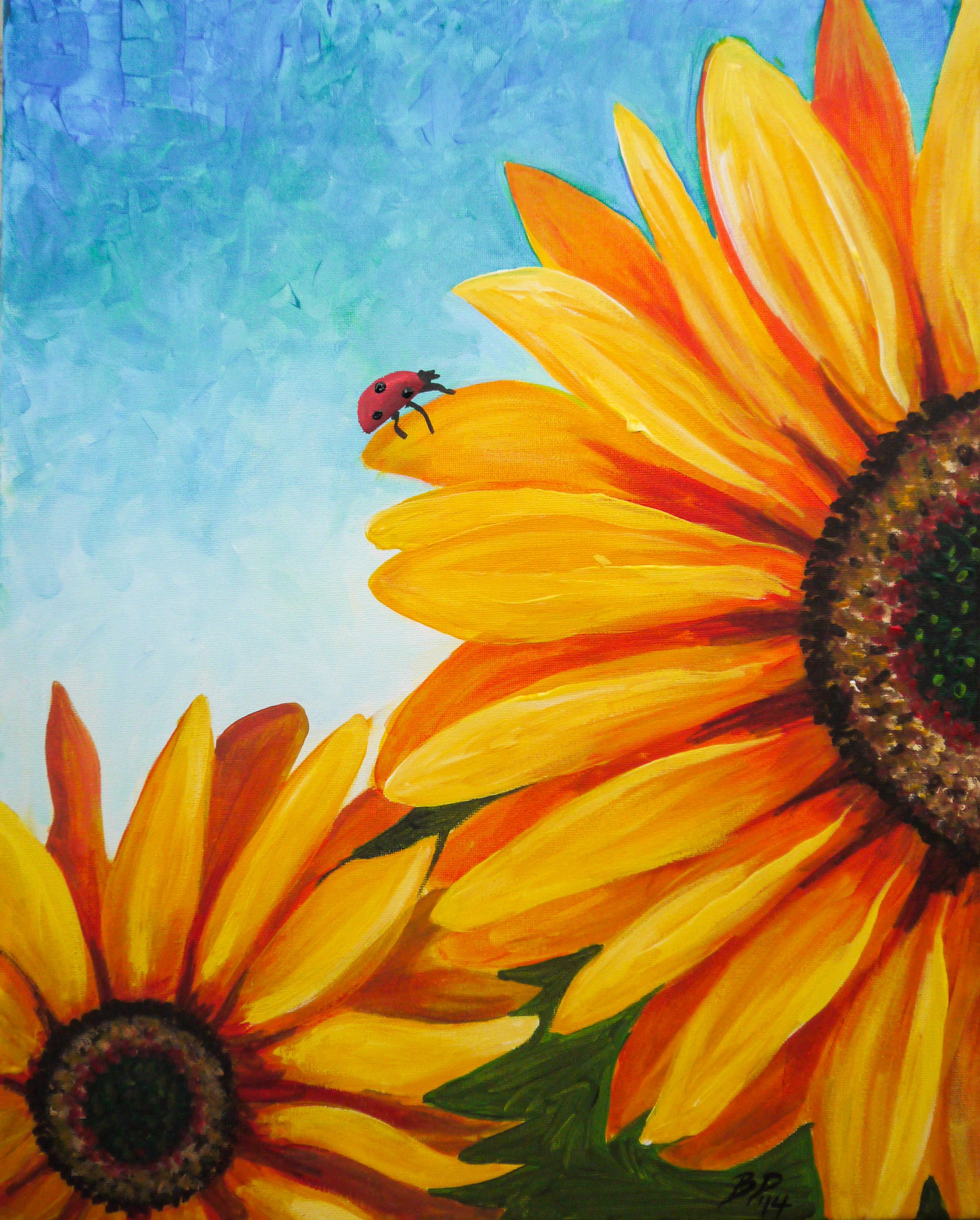 Hình ảnh tranh vẽ bông hoa Hướng Dương