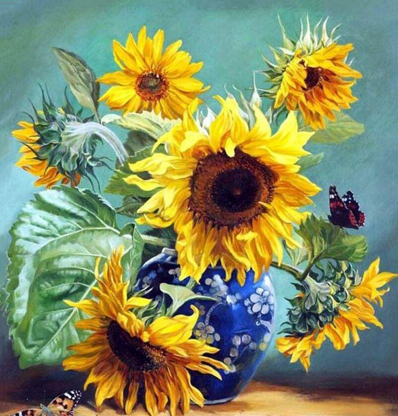 Tranh hoa Hướng Dương tự vẽ
