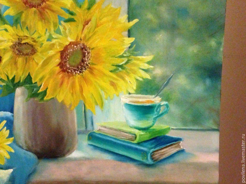 Tranh vẽ bình hoa Hướng Dương