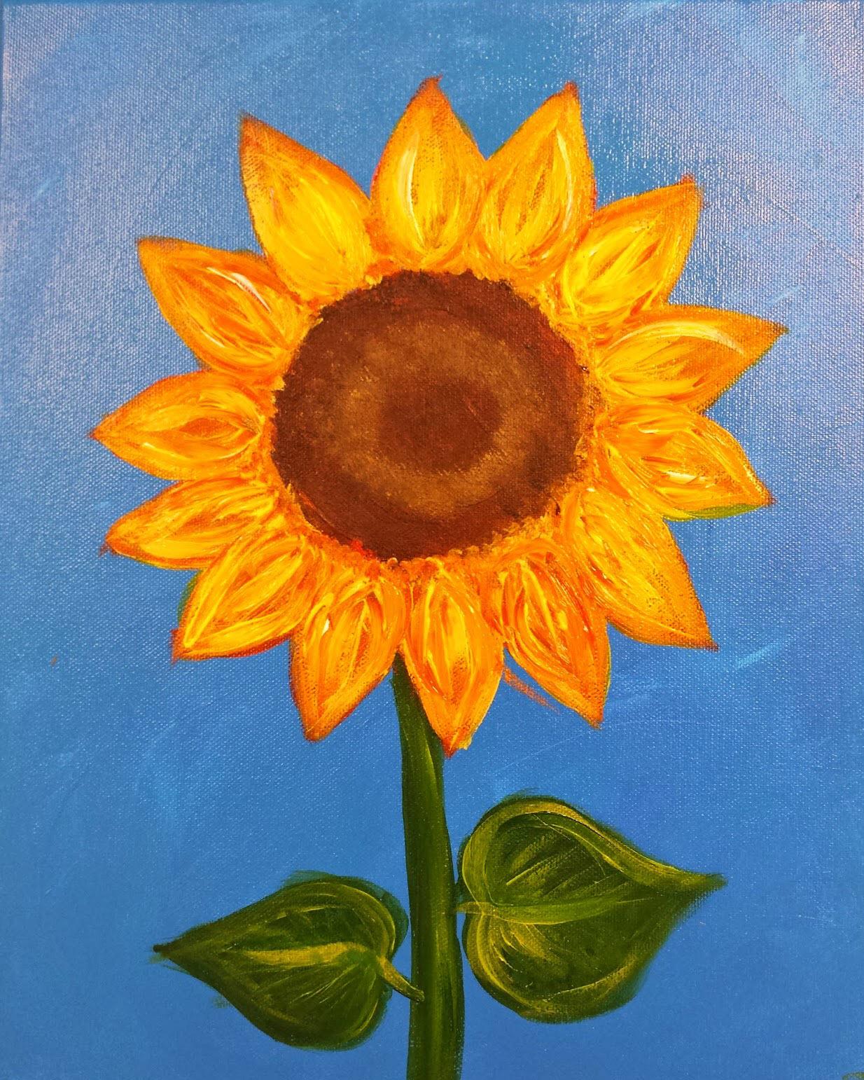 Tranh vẽ bông Hoa Hướng Dương đơn giản đẹp