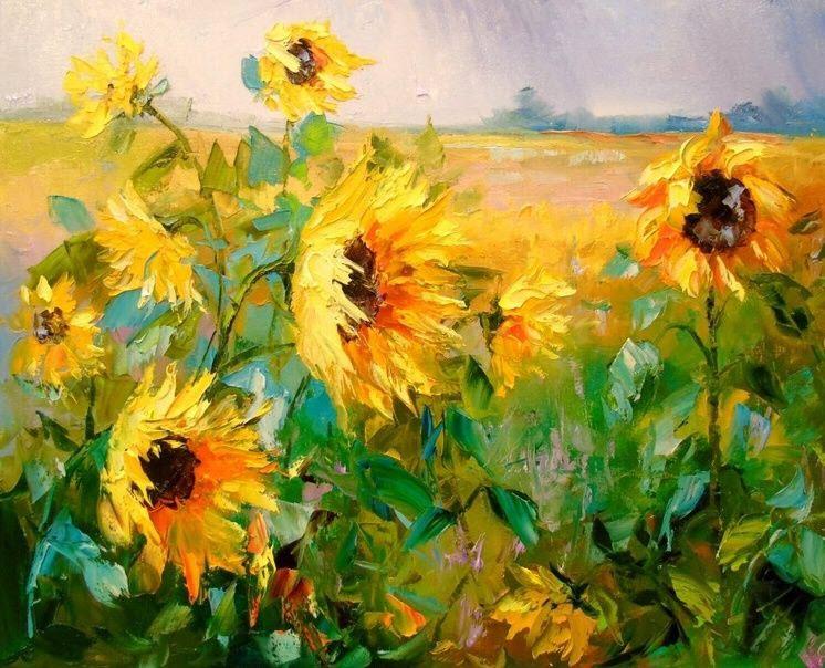 Tranh vẽ cánh đồng hoa Hướng Dương đẹp nhất