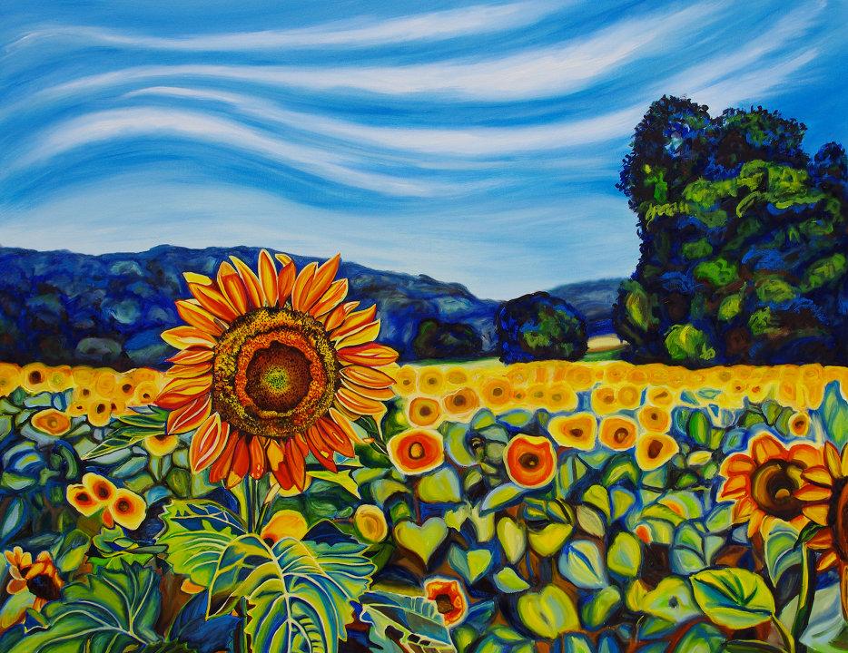 Tranh vẽ cánh đồng hoa Hướng Dương