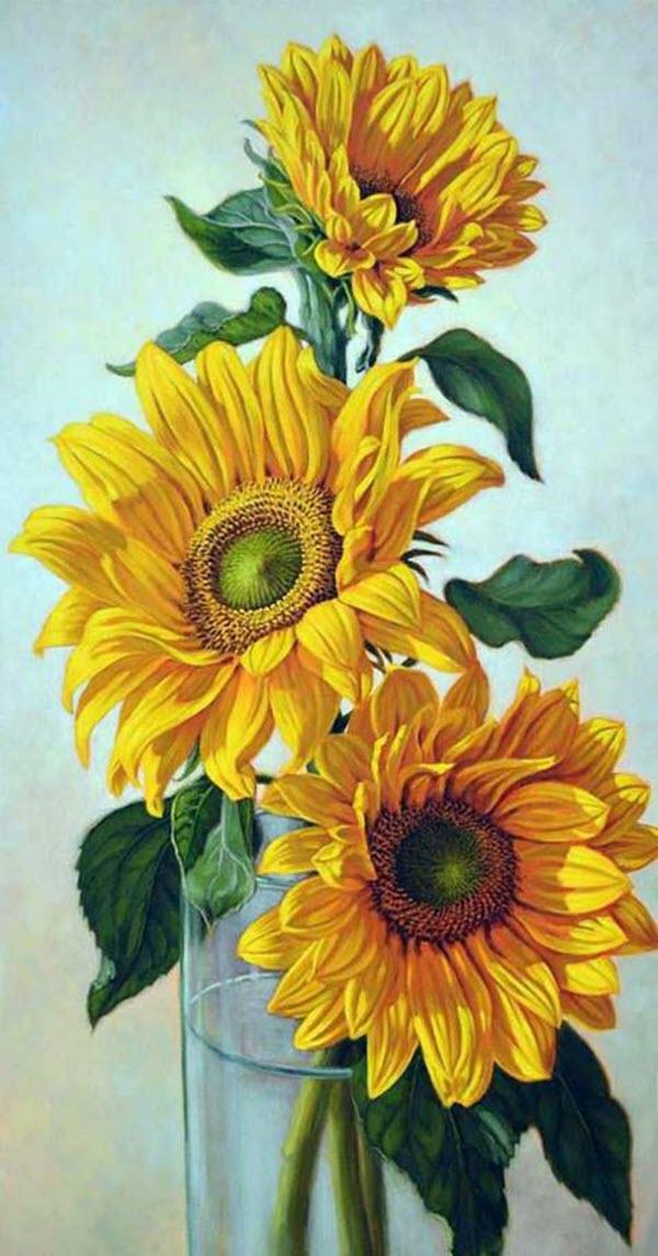 Tranh vẽ những bông hoa Hướng Dương đẹp