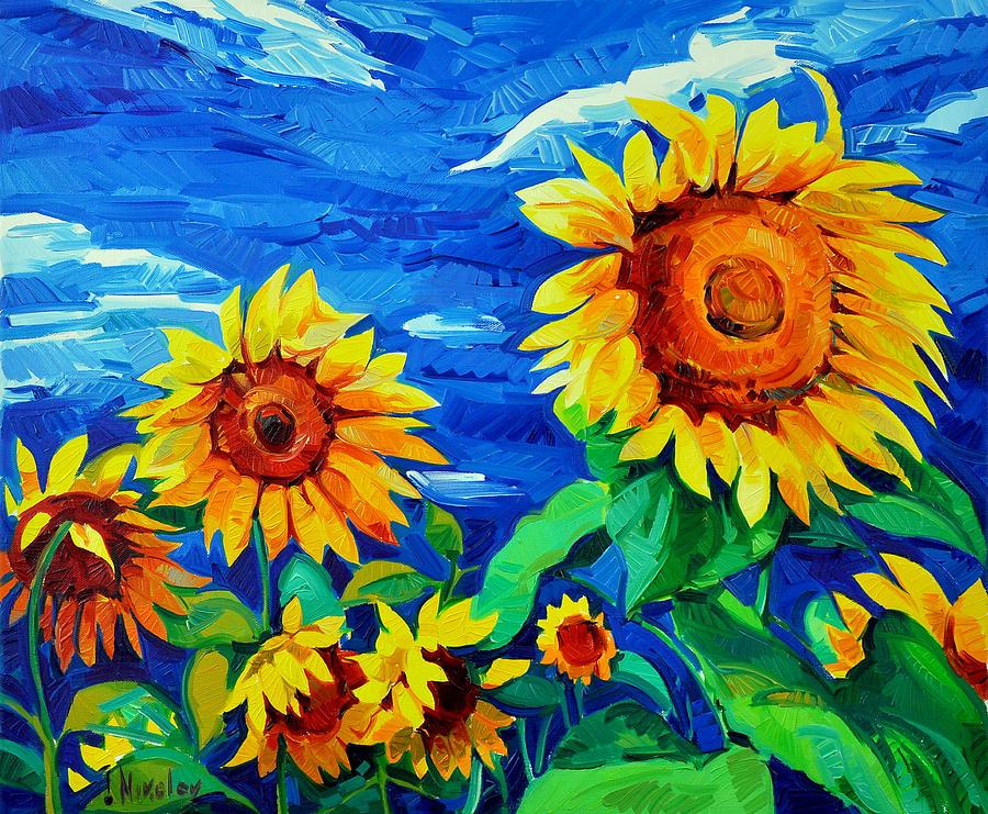 Tranh vẽ vườn hoa Hướng Dương đẹp nhất