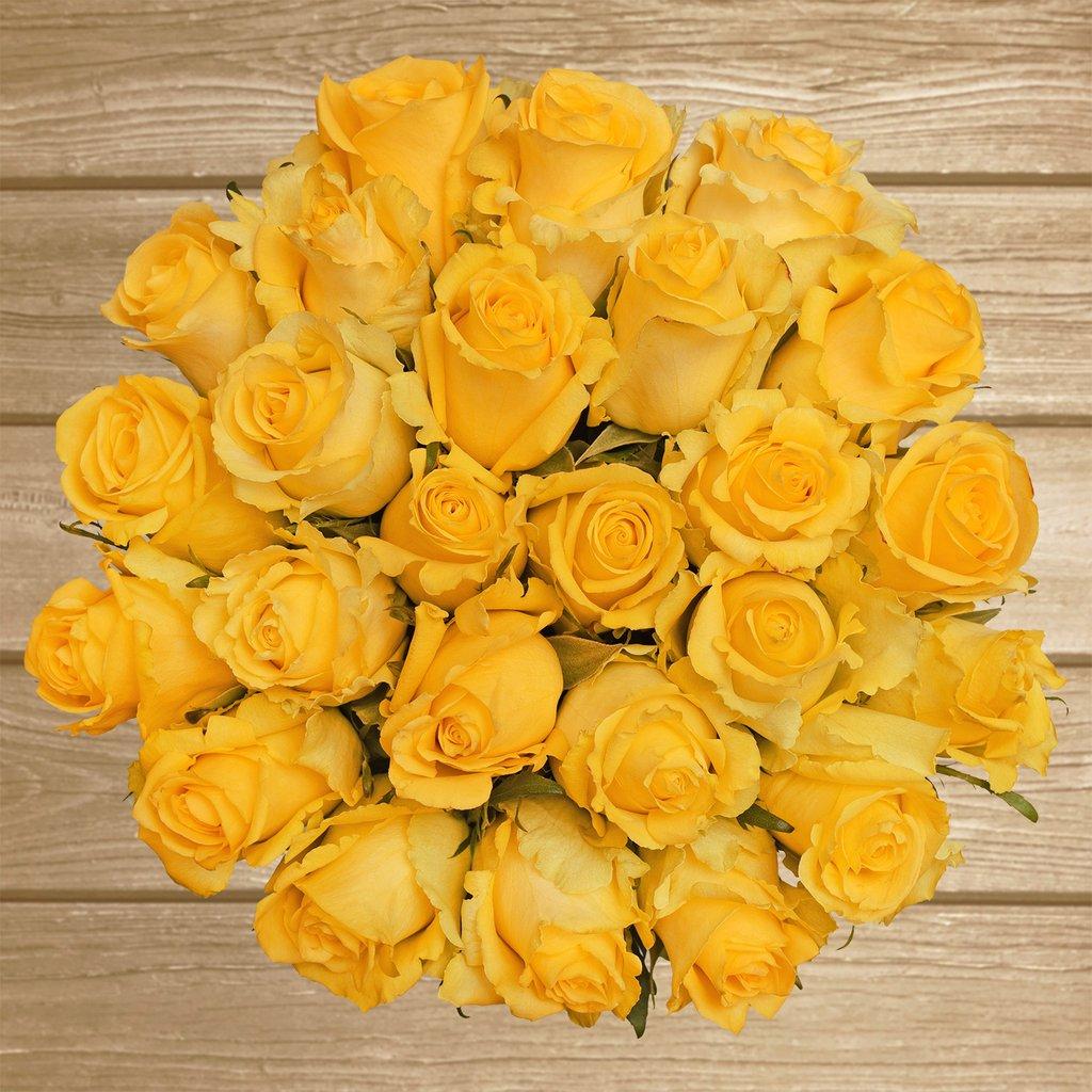 Hình ảnh bó hoa hồng vàng hình tròn