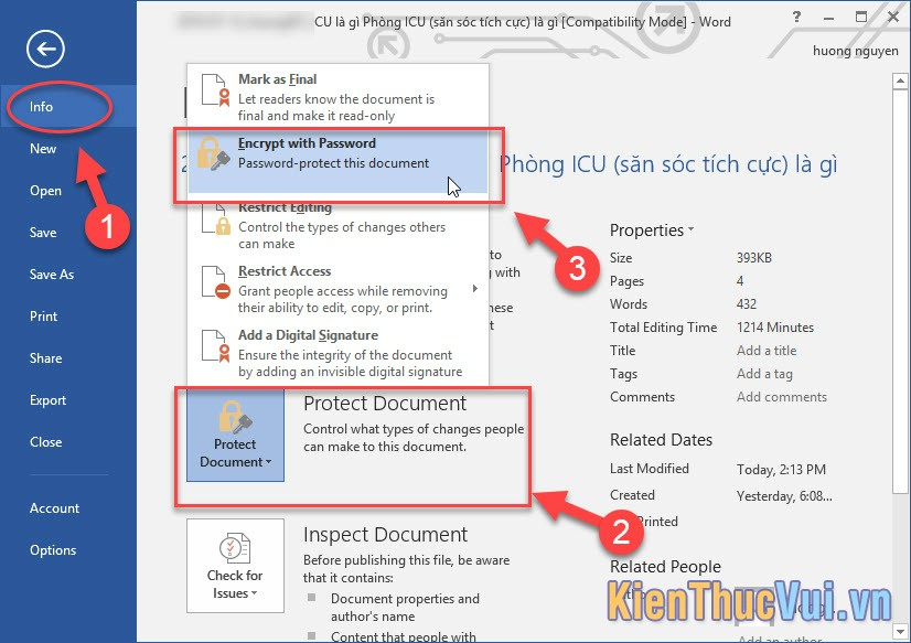 Chọn Encrypt with Password