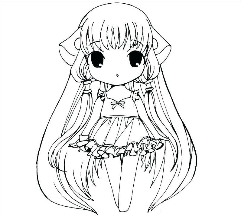 Hình tô màu công chúa chibi cực đẹp