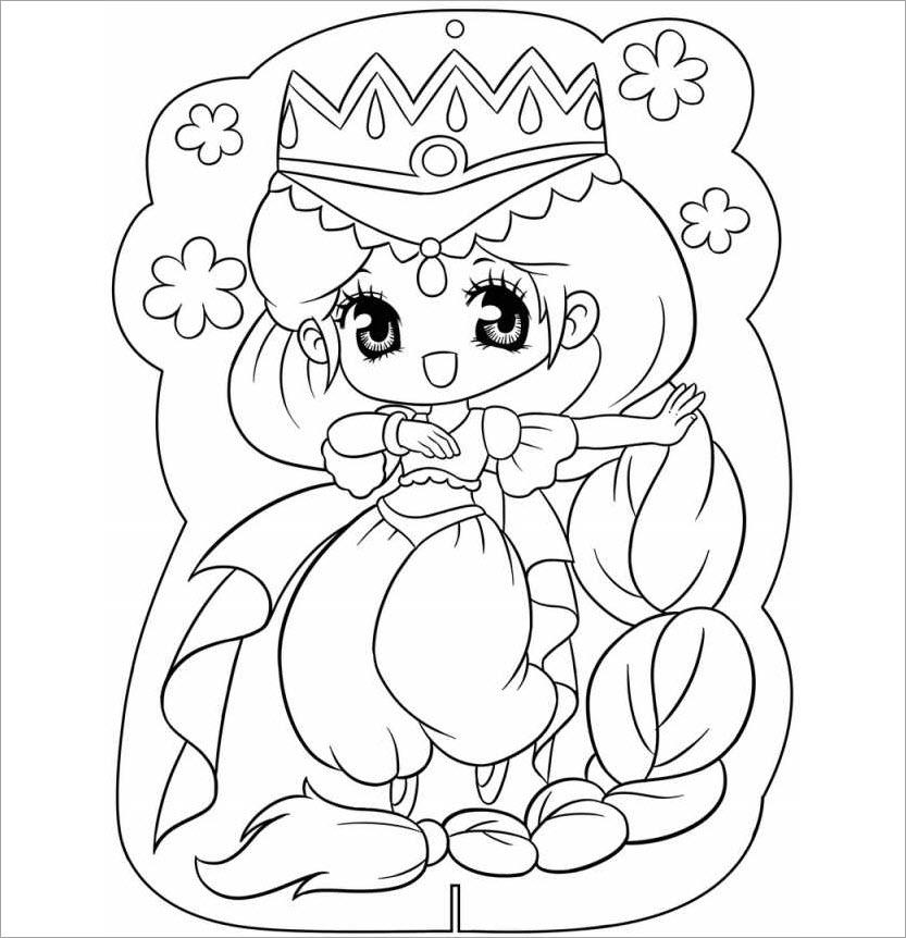 Hình tô màu công chúa chibi