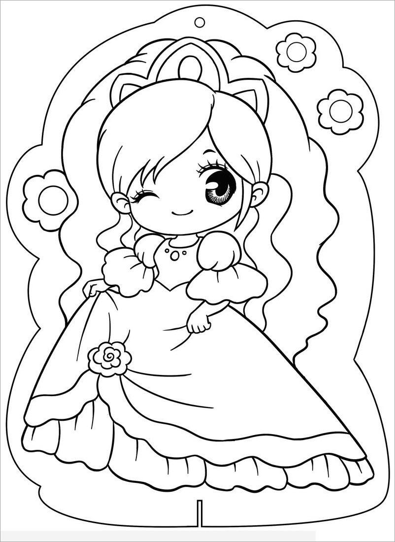Hình tô màu công chúa đáng yêu