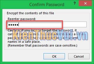 Nhập lại mật khẩu cho file Excel