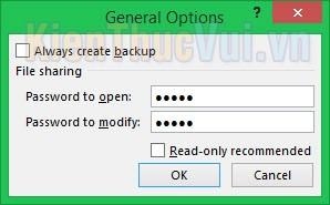 Nhập mật khẩu cho file Excel