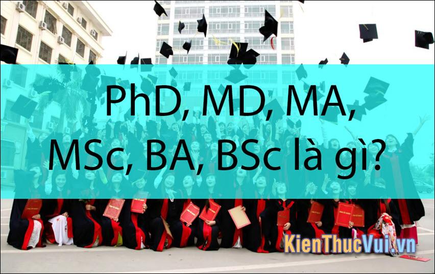 PhD, MD, MA, MSc, BA, BSc là gì?