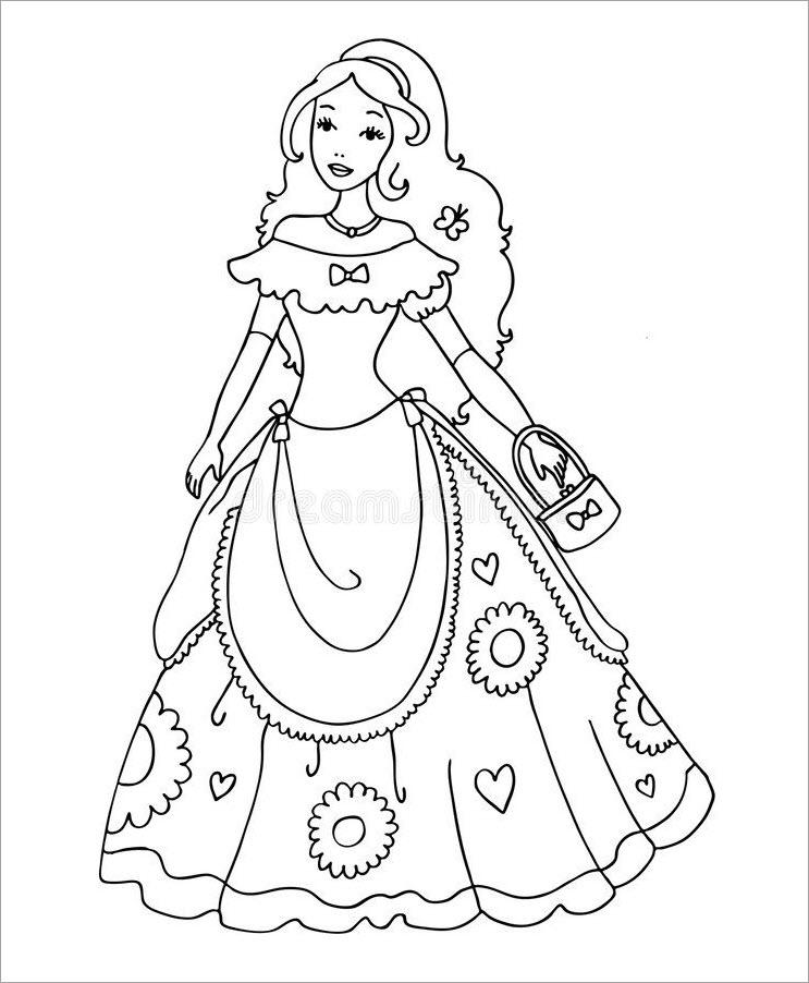 Tranh tập tô màu công chúa chibi cực đẹp