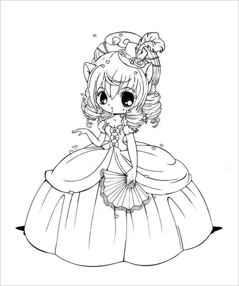 Tranh tô màu công chúa chibi cực đẹp