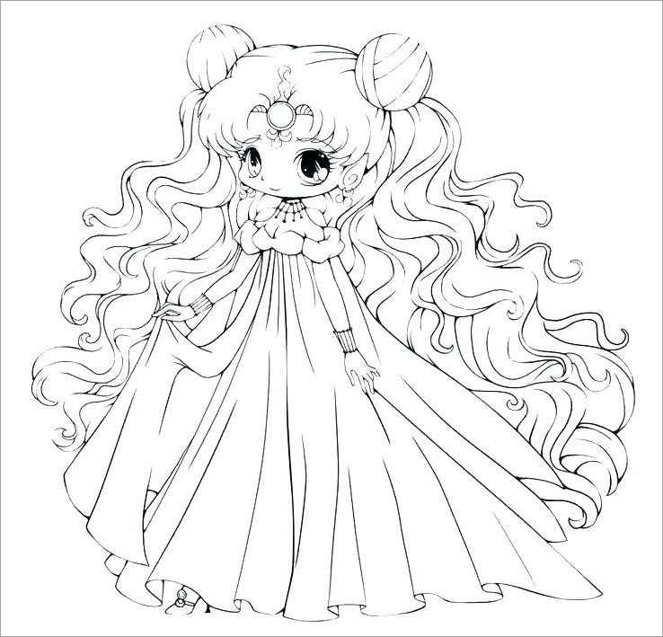 Tranh tô màu công chúa chibi dễ thương