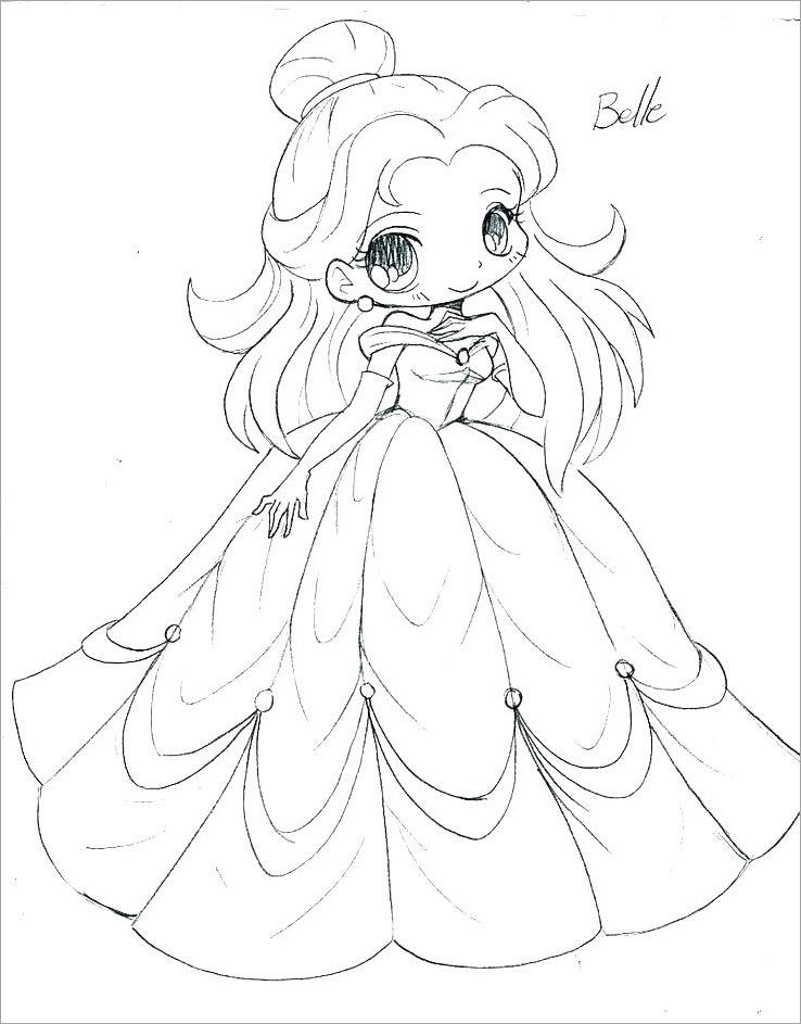 Tranh tô màu công chúa chibi đẹp