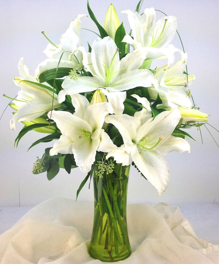 Hình ảnh lọ hoa ly trắng