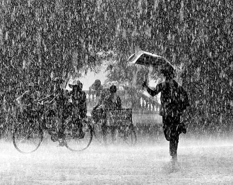 Ảnh mưa buồn đen trắng
