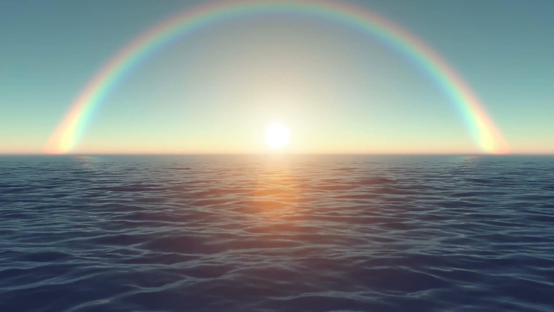 Ảnh bầu trời đẹp trên mặt biển với cầu vồng