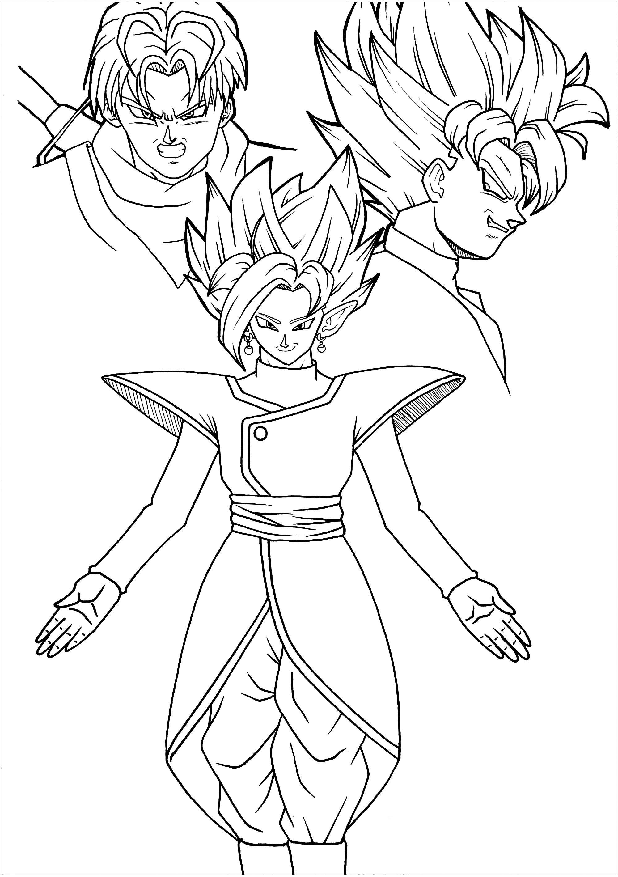 Tranh tô màu nhân vật songoku bảy viên ngọc rồng