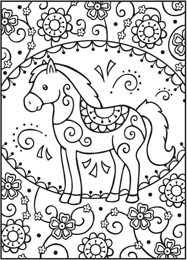 Tranh tô màu ngựa đáng yêu