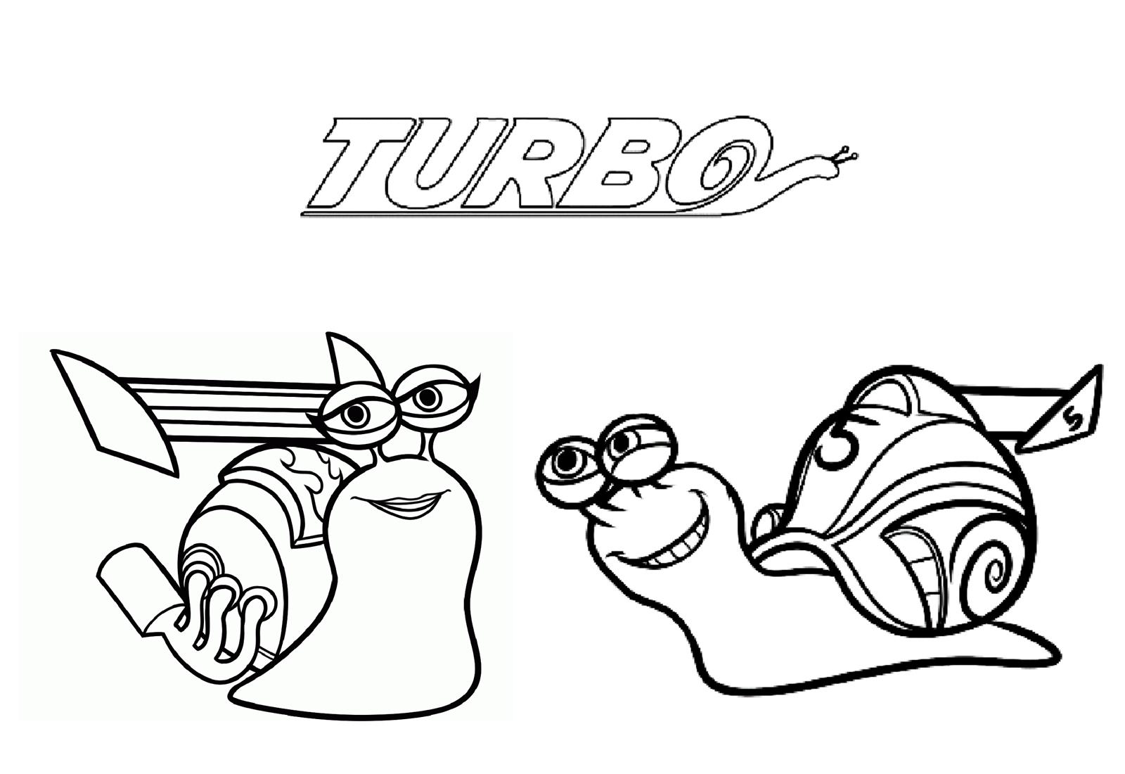 Tranh tô màu ốc sên Turbo