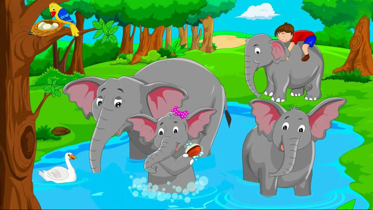 Hình ảnh con voi hoạt hình dễ thương