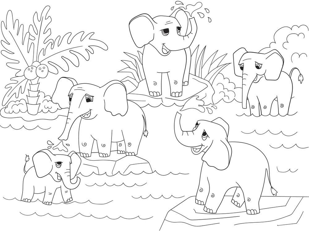 Hình ảnh tô màu những chú voi