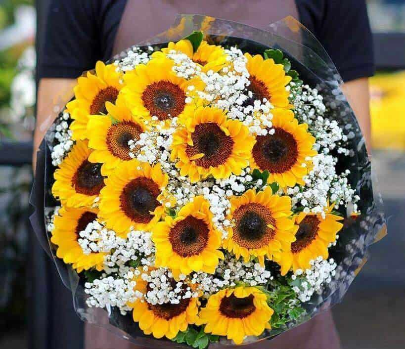 Mẫu cắm hoa Hướng Dương cầm tay cô dâu đẹp nhất