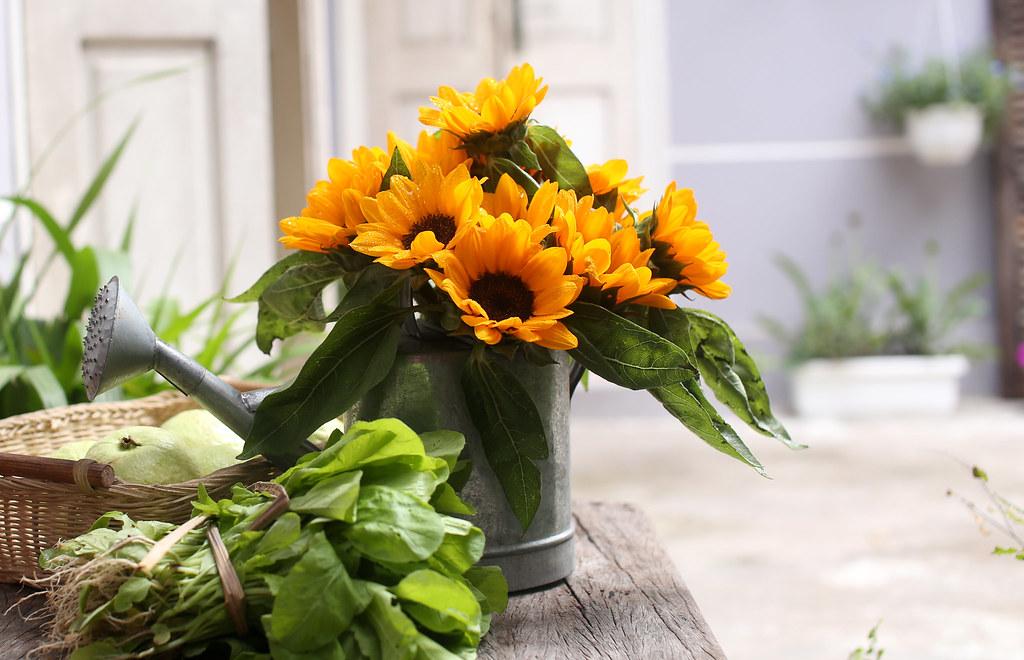 Mẫu cắm hoa hướng dương đẹp cho ngày cưới