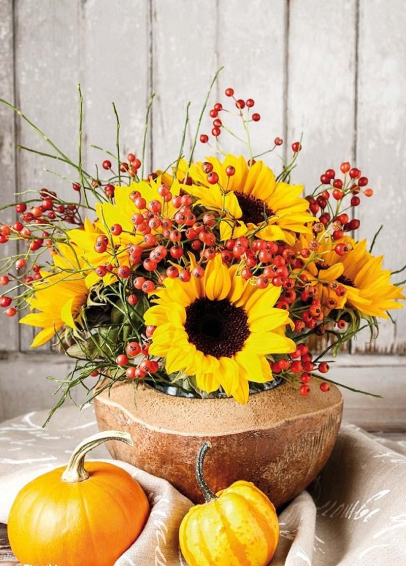 Mẫu cắm hoa Hướng dương trong vỏ dừa đẹp
