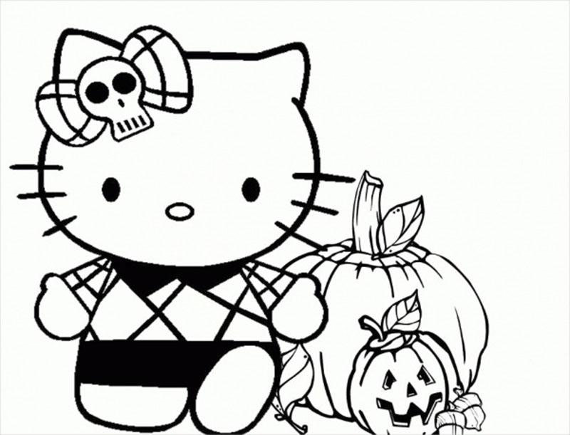 Các mẫu tranh tô màu Hello Kitty trong ngày Halloween đẹp nhất