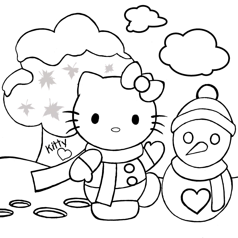 Hello Kitty mẫu tranh cho bé tô màu