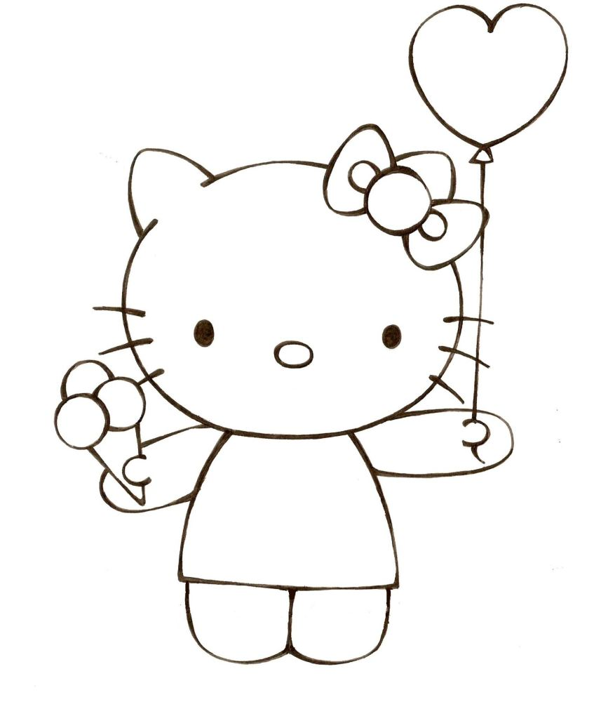 Hello Kitty mẫu tranh tô màu đẹp cho bé