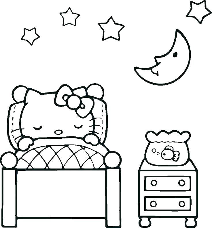 Hình ảnh Hello Kitty ngủ đẹp nhất cho bé tô màu