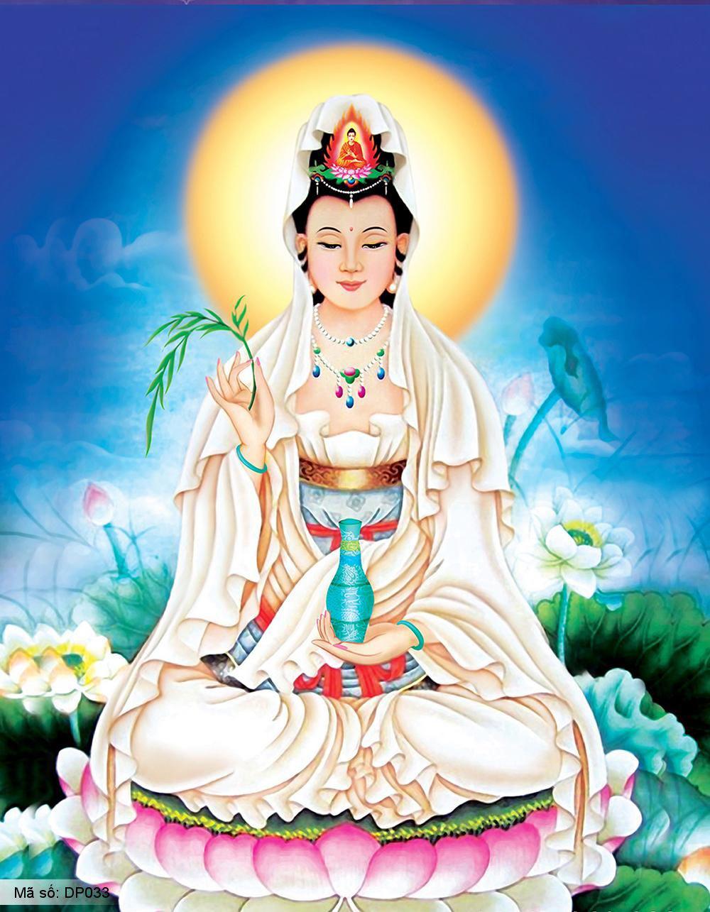 Hình ảnh Phật bà quan âm ngồi trên đài sen đẹp nhất