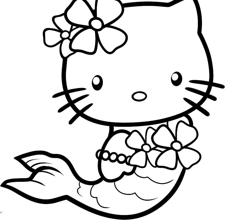 Hình ảnh tranh tô màu hello kitty đẹp