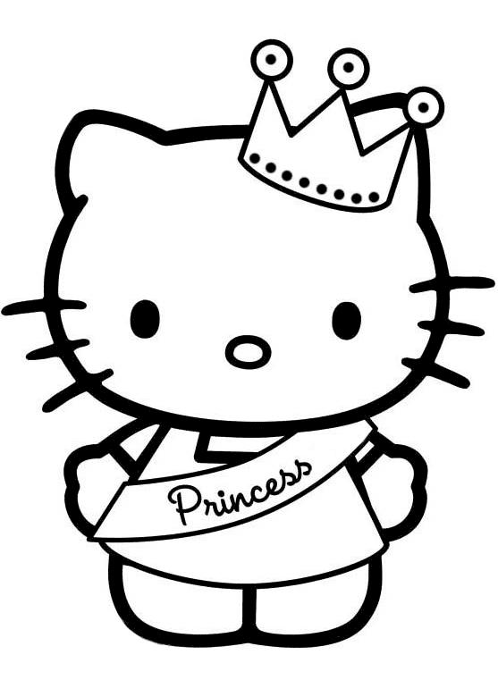 Hình công chúa Hello Kitty cho bé tập tô dễ thương nhất