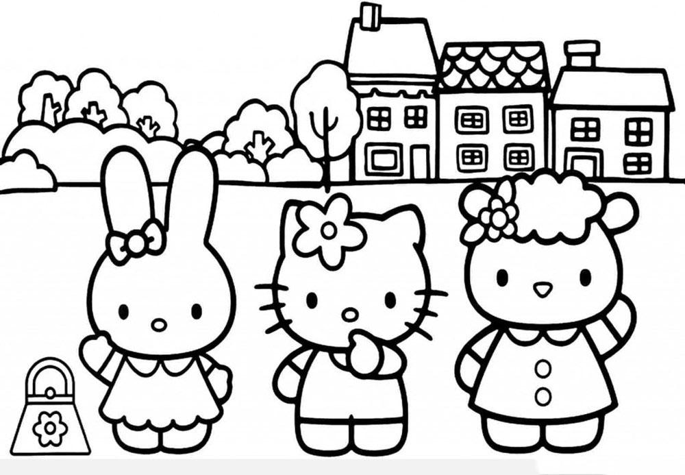 Kiểu tranh tô màu Mèo Hello Kitty đẹp