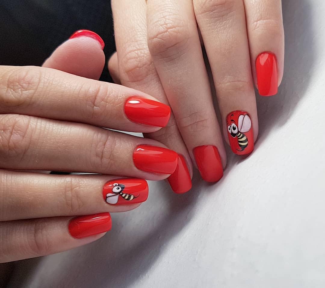 Mẫu nail đẹp màu đỏ