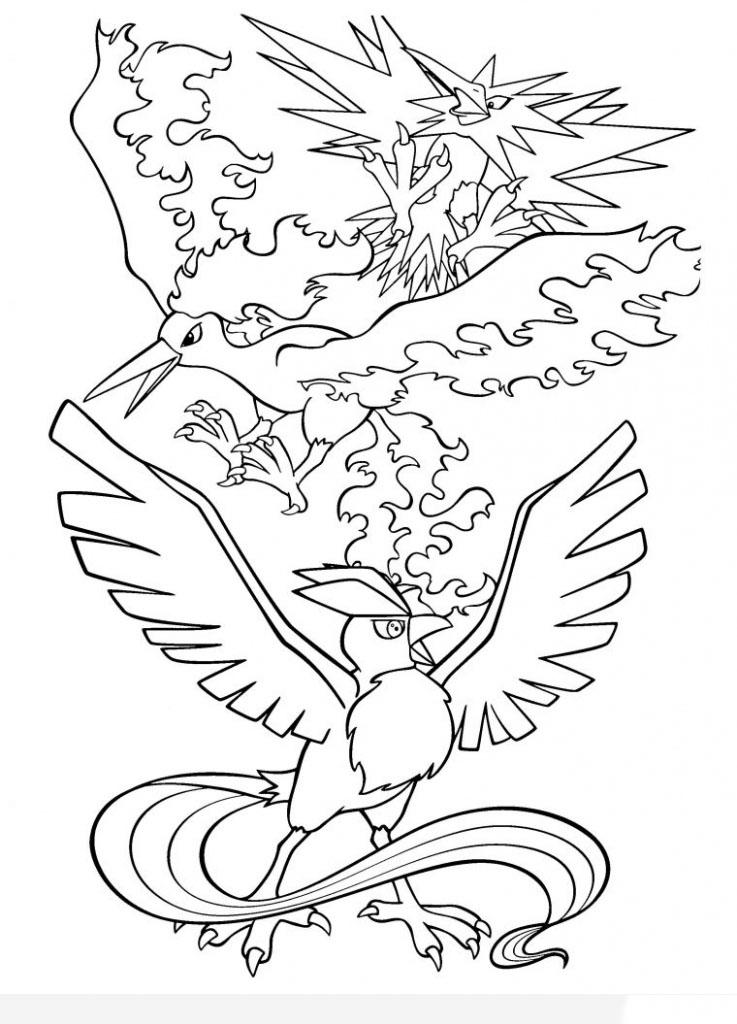 Mẫu tranh màu pokemon chim huyền thoại đẹp cho bé tập tô