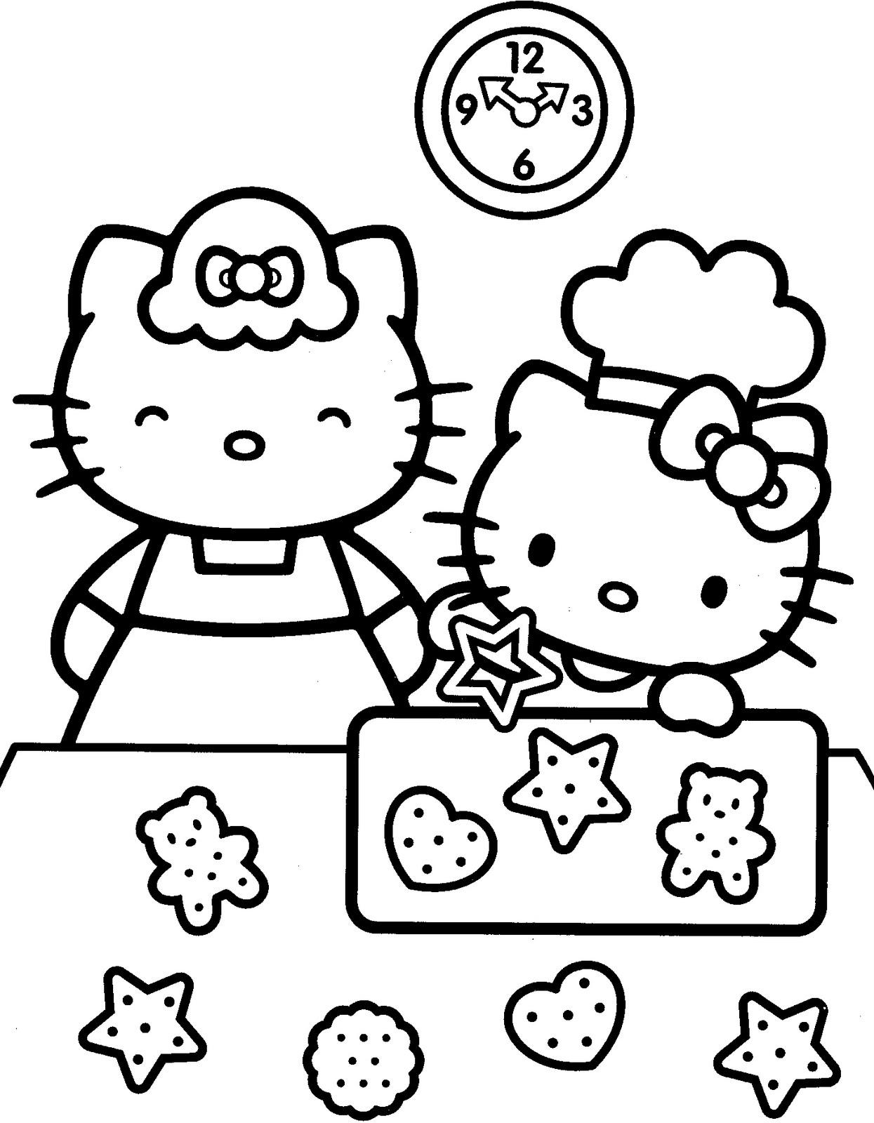Mẫu tranh tô màu Các cô nàng mèo Hello Kitty đang chăm chỉ làm bánh