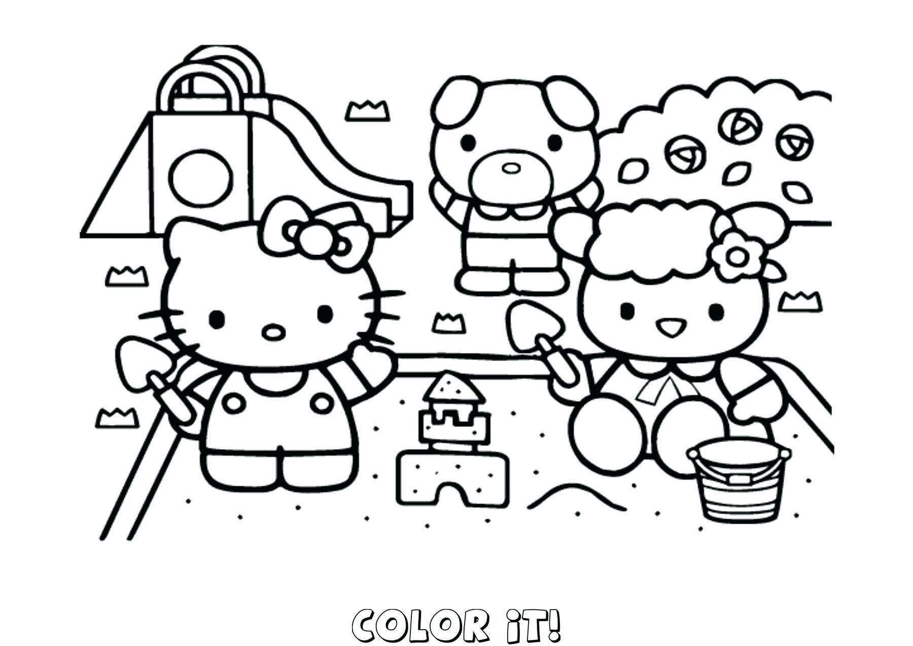 Mẫu tranh tô màu cho bé Hello Kitty đẹp